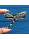 Брошь в форме стрекозы с кристаллами