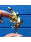 Брошь в стиле Дамаскин, украшенная имитированными жемчужинами #2