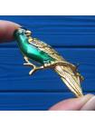 Брошь Попугай, украшенная искристыми кристаллами и эмалью