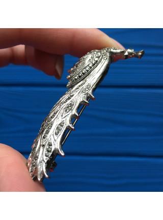 Брошь Павлин, украшенный искристыми кристаллами