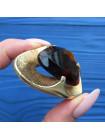 Брошь с крупным кристаллом цвета коньячного бриллианта