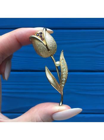 Нарядная объемная брошь в форме цветка тюльпана
