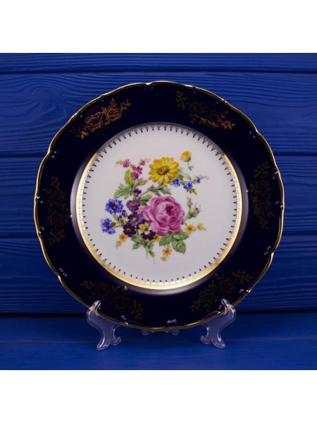 Роскошная винтажная тарелка из Чехословакии кобальт