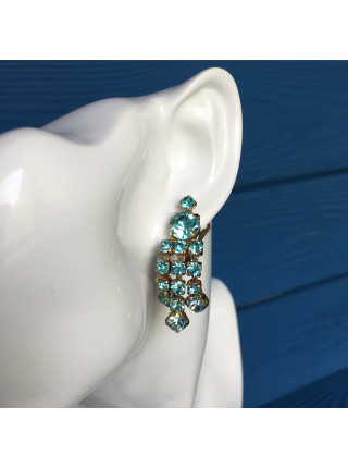 Клипсы с кристаллами небесно-голубого цвета