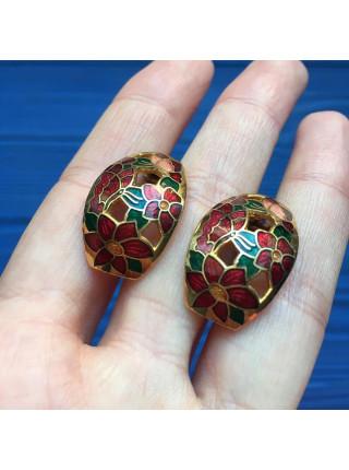 """Нарядные серьги от Sea Gems, выполненные в технике """"перегородчатая эмаль"""""""