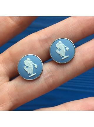Серьги пусеты от Wedgwood - голубой джаспер в серебре!