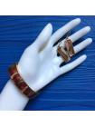 Комплект из браслета и серег, украшенных эмалью