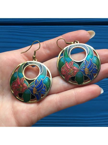 Винтажные цветочные серьги из Англии