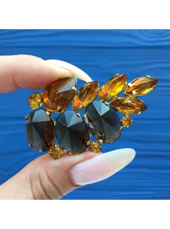 Роскошная винтажная брошь с кристаллами цвета коньячного бриллианта