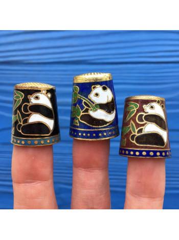 Трио коллекционных наперстков клуазоне с пандами