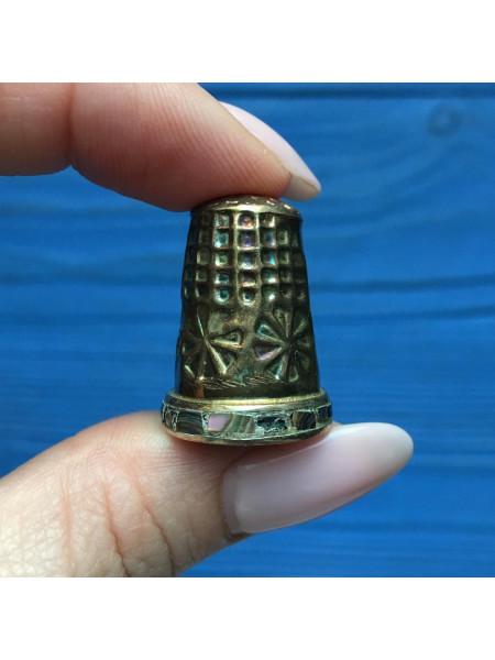 Винтажный коллекционный металлический наперсток, инкрустированный перламутром