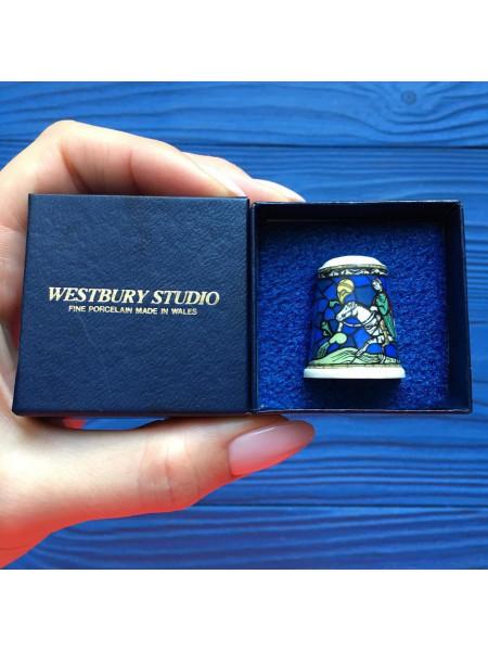 Коллекционный фарфоровый наперсток из Уэльса в оригинальной коробочке