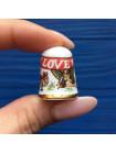 Винтажный коллекционный наперсток I LOVE YOU от Caverswall