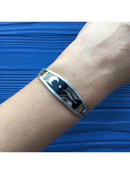 Прелестный браслет из мексиканского серебра, инкрустированный перламутром