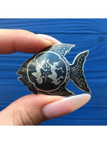 Брошь рыбка из Сиамского Серебра 925 пробы