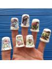 Коллекция из 7-ми фарфоровых наперстков от Birchcroft с известной детской считалочкой
