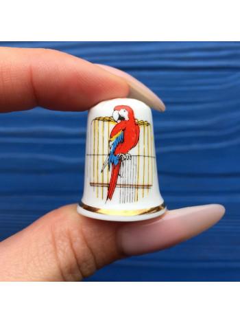 Коллекционный наперсток с попугаем от Birchcroft