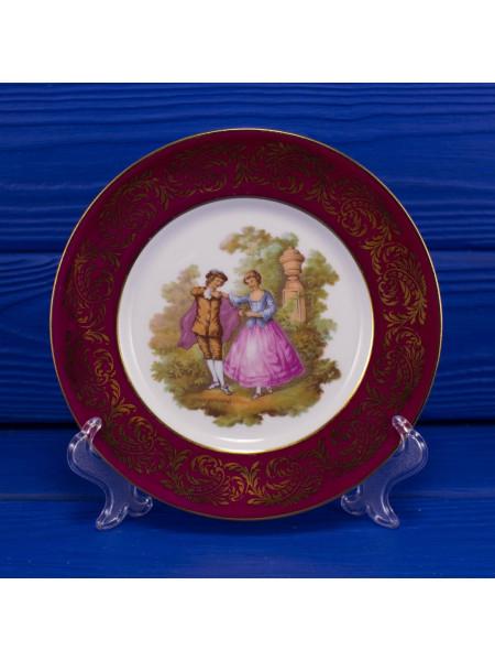 Тарелка LIMOGES с бордовым ободком