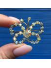 Роскошная винтажная брошь бабочка с кристаллами Aurora Borealis