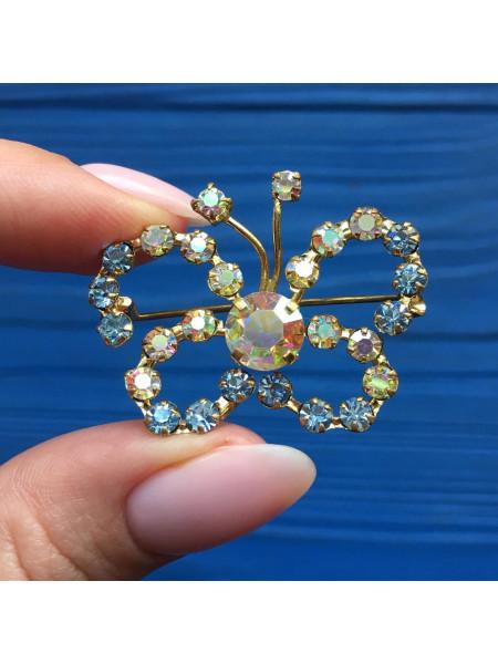 Брошь бабочка с кристаллами Aurora Borealis