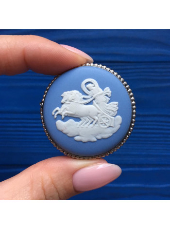 Брошь Wedgwood серебряная голубой Jasper