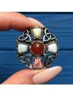 Брошь в кельтском стиле с натуральными камнями