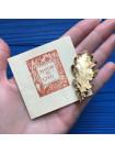 Брошь настоящий лист дерева в золоте 22K