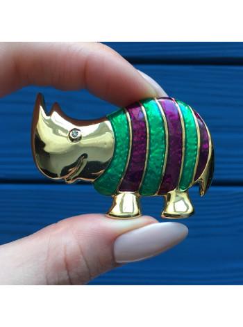 Брошь в форме носорога, выполненная в технике перегородчатая эмаль