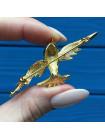 Брошь Птица, украшенная разноцветными кристаллами и эмалью