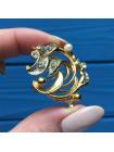Брошь MOVITEX, украшенная жемчужинкой и парой искристых кристаллов!