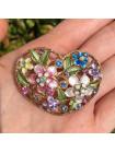 Брошь в форме сердца с кристаллами