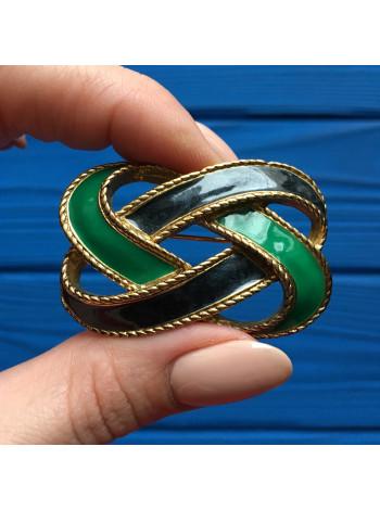 Брошь в форме оригинального узла, покрытого эмалью двух цветов