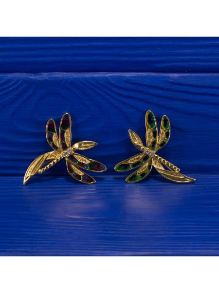 Английские винтажные броши в виде стрекоз, украшенных мерцающими кристаллами и эмалью
