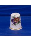 Коллекционный фарфоровый наперсток с изображением цветка от AMBER CHINA FINE BONE CHINA STAFFORDSHIRE ENGLAND