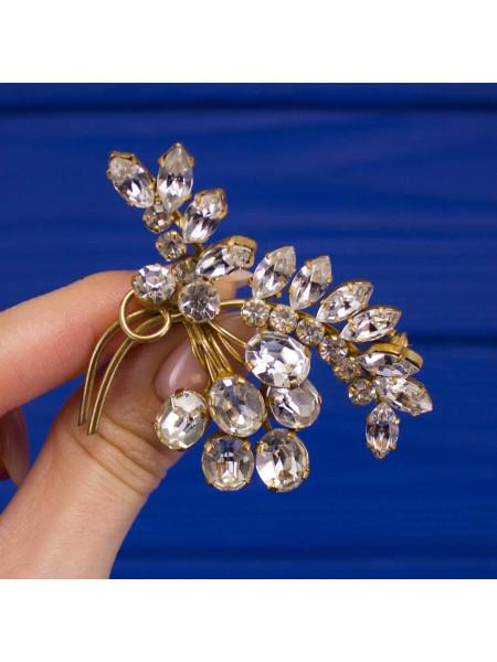 Великолепная винтажная брошь с искристыми кристаллами