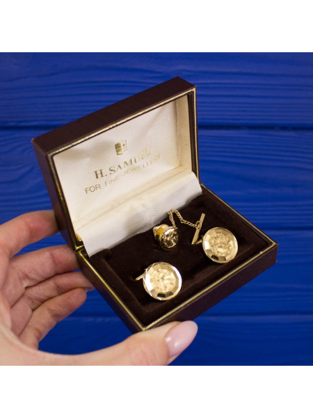 Элегантный комплект - запонки и зажим для галстука от H. SAMUEL в оригинальной коробочке