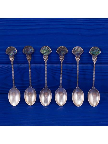 Винтажный комплект из шести серебряных чайных ложек, украшенных перламутром