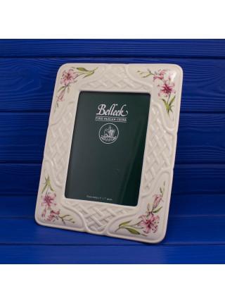 Роскошный винтажный комплект Belleek рамка для фото и подсвечники