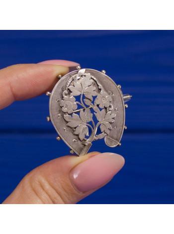 Антикварная серебряная брошь подкова Sydenham Brothers
