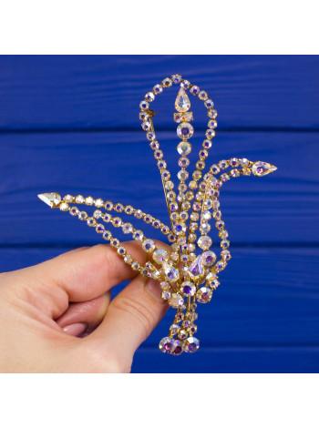 Великолепная крупная винтажная брошь с искристыми кристаллами