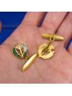 Комплект с чертополохом: зажим и запонки, украшенные эмалью