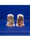 Пара коллекционных фарфоровых напёрстков с ангелочками