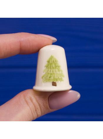 Очаровательный винтажный наперсток с рождественской елочкой