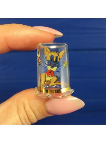 Коллекционный наперсток из стекла с нарядным ободком