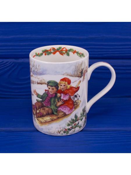 Винтажная кружка из костяного фарфора с рождественской тематикой