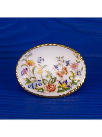Винтажная фарфоровая брошь от Aynsley дизайна Cottage Garden