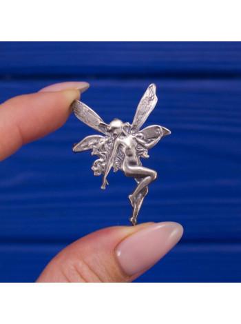 Очаровательная винтажная брошь фея из английского серебра