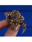 Роскошная винтажная брошь из Англии, усыпанная искристыми кристаллами двух оттенков