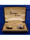 Изысканные винтажные запонки от Stratton из кости в оригинальной коробочке