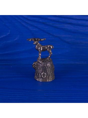 Коллекционный металлический наперсток с оленем